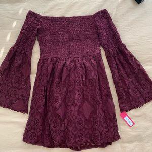 Burgundy Lace Smock Dress